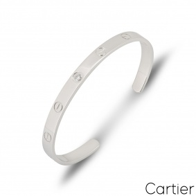 Cartier White Gold Diamond Cuff Love Bracelet Size 18 B6029918
